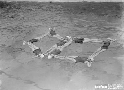 A synchronized swimming group perform