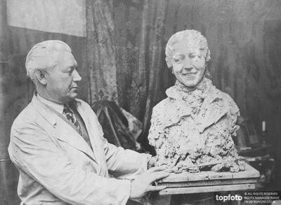 Mrs Mollison modelled in clay