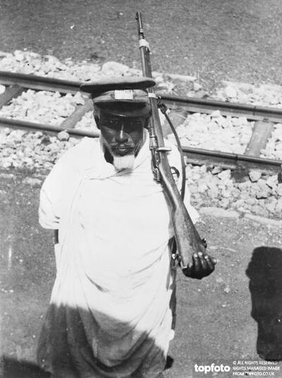 An aged Abyssinian railway guard