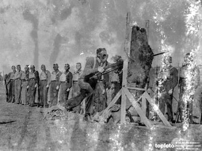 Bayonet Practice In Gas -