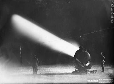 Searchlight sending its powerful beams