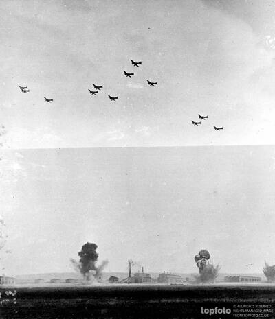 Soviet bombers blow up a