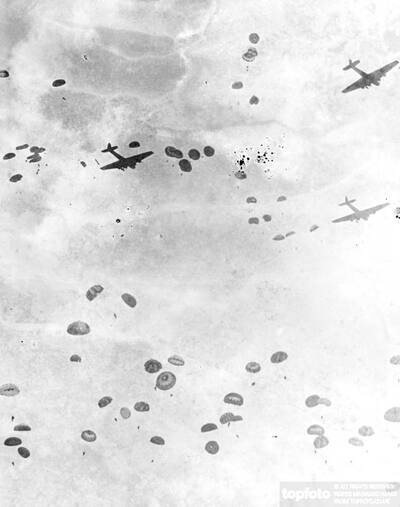 Soviet soldiers floating to earth