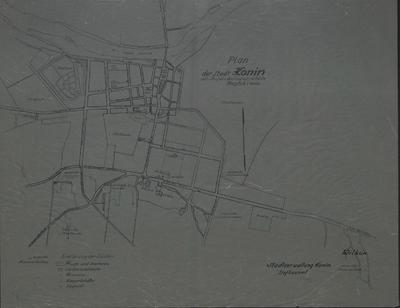 Plan der Stadt Konin mit Angabe der Löschwasserteiche