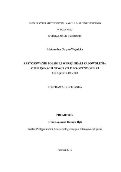 Zastosowanie polskiej wersji skali zadowolenia z pielęgnacji Newcastle do oceny opieki pielęgniarskiej