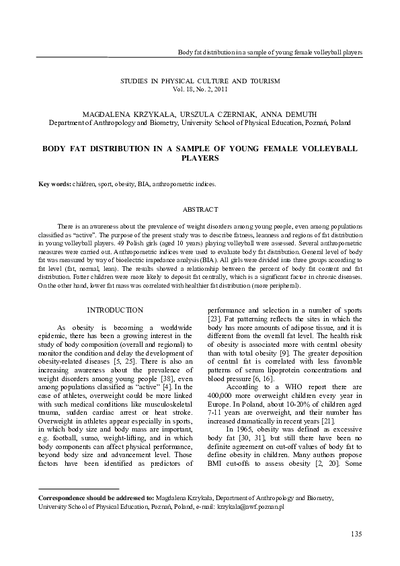 Body fat distribution in a sample of young female volleyball players
