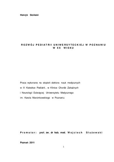 Rozwój pediatrii uniwersyteckiej w Poznaniu w XX wieku