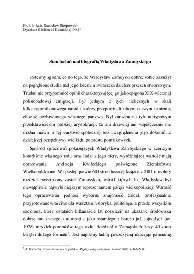 Stan badań nad biografią Władysława Zamoyskiego
