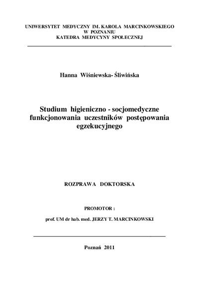 Studium higieniczno-socjomedyczne funkcjonowania uczestników postępowania egzekucyjnego