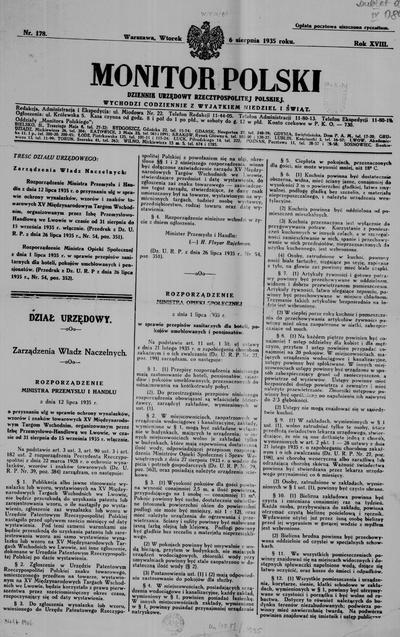 Monitor Polski. Dziennik Urzędowy Rzeczypospolitej Polskiej. 1935.08.06 R.18 nr178