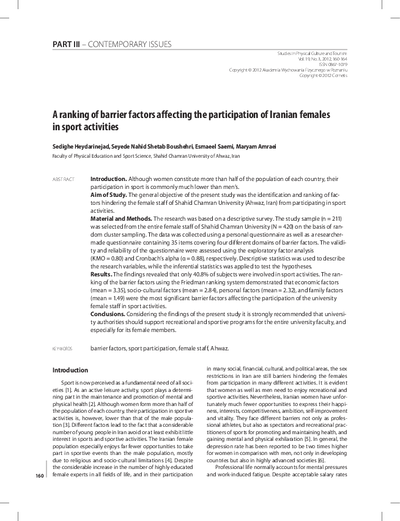 A ranking of barrier factors affecting the participation of Iranian femalesin sport activities