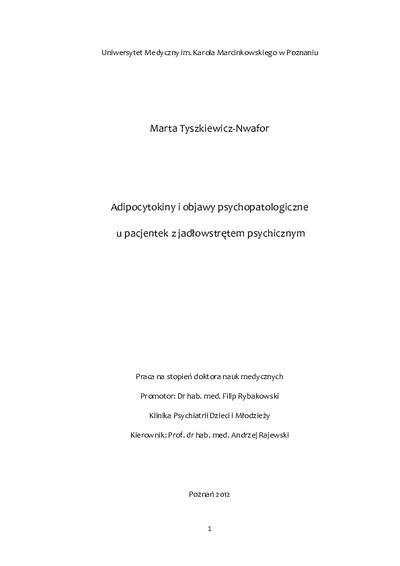 Adipocytokiny i objawy psychopatologiczne u pacjentek z jadłowstrętem psychicznym