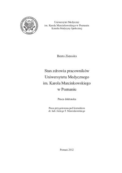 Stan zdrowia pracowników Uniwersytetu Medycznego im. Karola Marcinkowskiego w Poznaniu