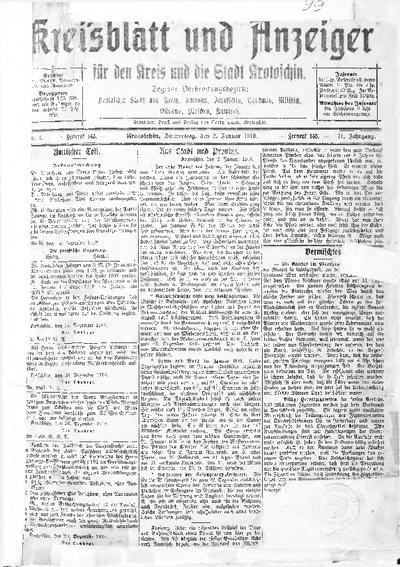 Kreisblatt und Anzeiger für den Kreis und die Stadt Krotoschin 1919.01.02 R.71 Nr1