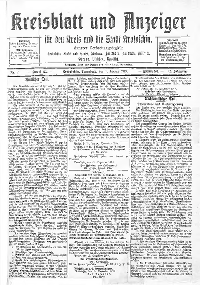 Kreisblatt und Anzeiger für den Kreis und die Stadt Krotoschin 1919.01.04 R.71 Nr2