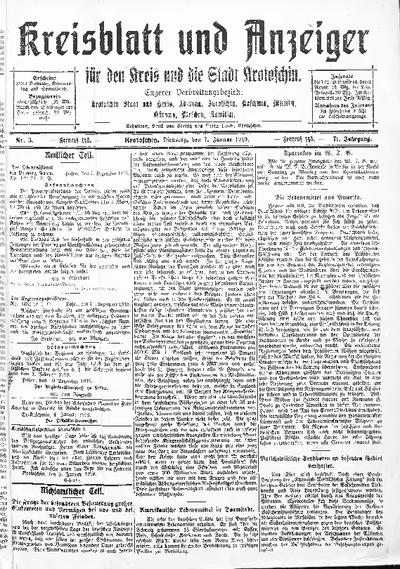 Kreisblatt und Anzeiger für den Kreis und die Stadt Krotoschin 1919.01.07 R.71 Nr3