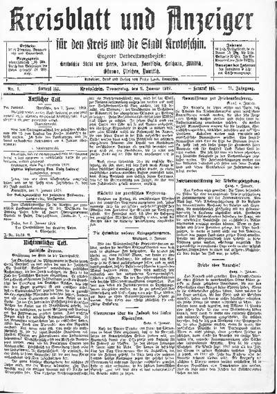 Kreisblatt und Anzeiger für den Kreis und die Stadt Krotoschin 1919.01.09 R.71 Nr4