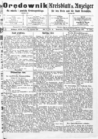 Orędownik dla Miasta i Powiatu Krotoszyńskiego 1919.01.21 R.71 Nr9