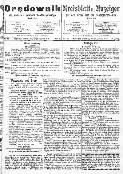 Orędownik dla Miasta i Powiatu Krotoszyńskiego 1919.01.28 R.71 Nr12
