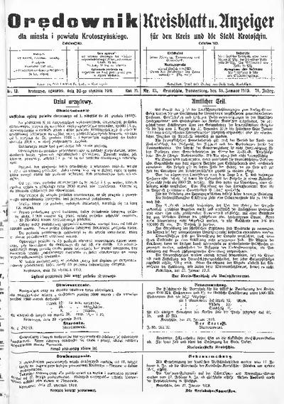 Orędownik dla Miasta i Powiatu Krotoszyńskiego 1919.01.30 R.71 Nr13