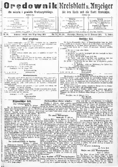 Orędownik dla Miasta i Powiatu Krotoszyńskiego 1919.02.25 R.71 Nr24