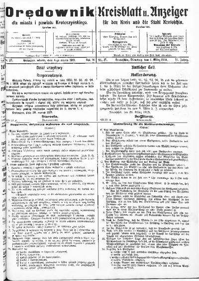 Orędownik dla Miasta i Powiatu Krotoszyńskiego 1919.03.04 R.71 Nr27