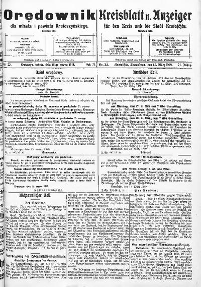 Orędownik dla Miasta i Powiatu Krotoszyńskiego 1919.03.15 R.71 Nr32