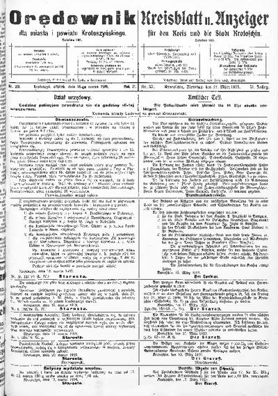 Orędownik dla Miasta i Powiatu Krotoszyńskiego 1919.03.18 R.71 Nr33
