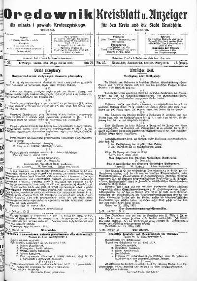 Orędownik dla Miasta i Powiatu Krotoszyńskiego 1919.03.22 R.71 Nr35