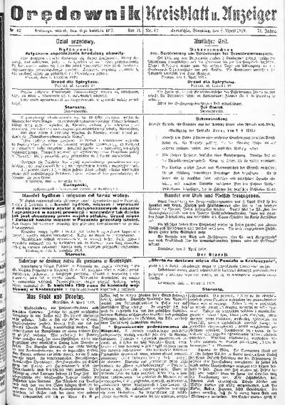 Orędownik dla Miasta i Powiatu Krotoszyńskiego 1919.04.08 R.71 Nr42