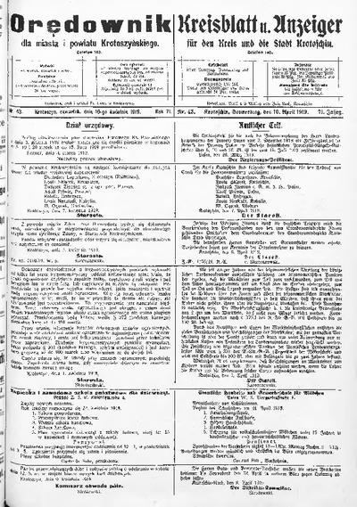 Orędownik dla Miasta i Powiatu Krotoszyńskiego 1919.04.10 R.71 Nr43
