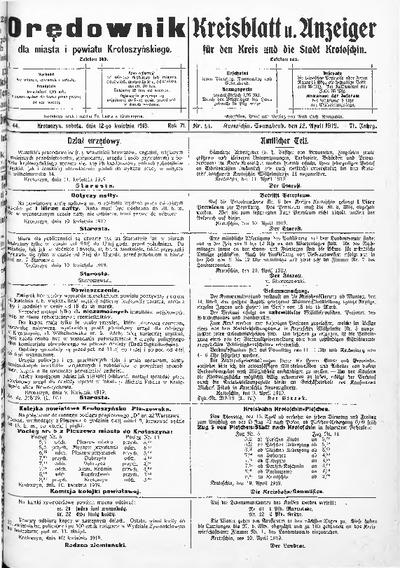 Orędownik dla Miasta i Powiatu Krotoszyńskiego 1919.04.12 R.71 Nr44