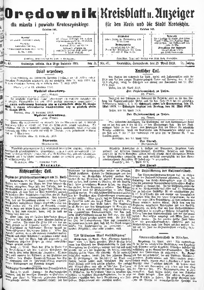 Orędownik dla Miasta i Powiatu Krotoszyńskiego 1919.04.19 R.71 Nr47