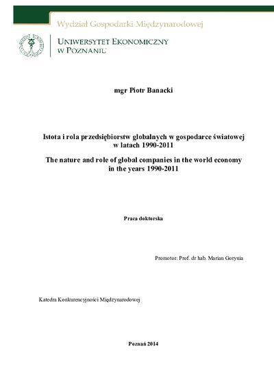 Istota i rola przedsiębiorstw globalnych w gospodarce światowej w latach 1990-2011