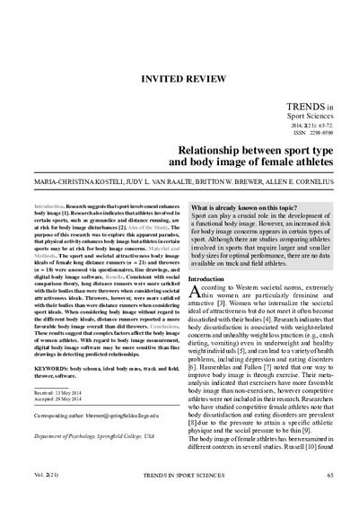 Relationship between sport type and body image of female athletes