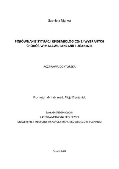 Porównanie sytuacji epidemiologicznej wybranych chorób w Malawi, Tanzanii i Ugandzie