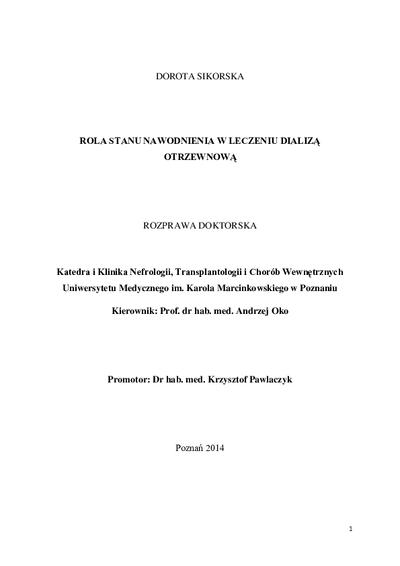 Rola stanu nawodnienia w leczeniu dializą otrzewnową