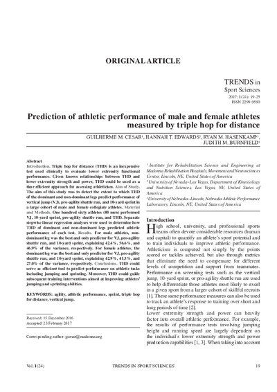 Prediction of athletic performance of male and female athletes measured by triple hop for distance