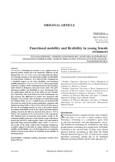 Functional mobility and flexibility in young female swimmers