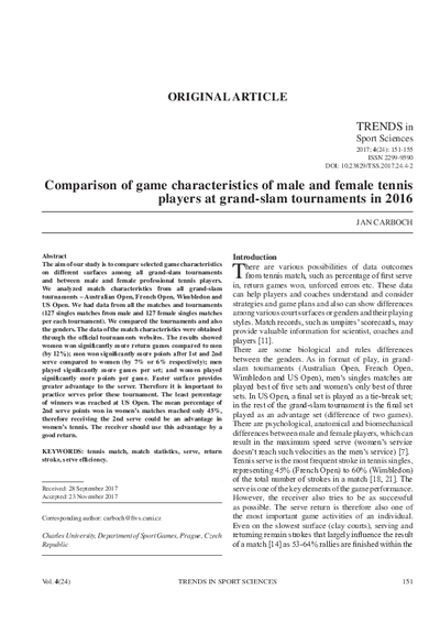 Comparison of game characteristics of male and female tennis players at grand-slam tournaments in 2016
