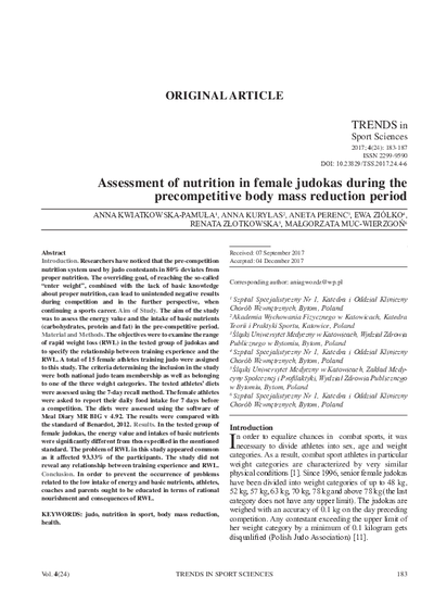 Assessment of nutrition in female judokas during the precompetitive body mass reduction period