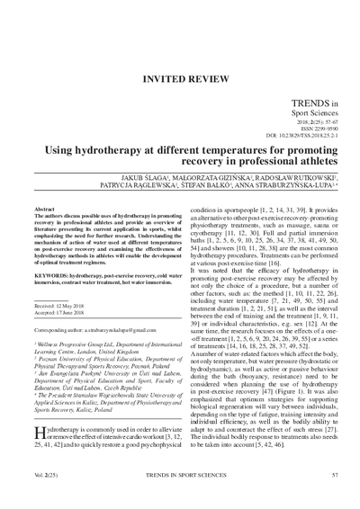 Using hydrotherapy at different temperatures for promoting recovery in professional athletes