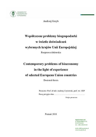 Współczesne problemy biogospodarki w świetle doświadczeń wybranych krajów Unii Europejskiej