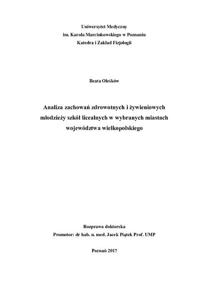 Analiza zachowań zdrowotnych i żywieniowych młodzieży szkół licealnych w wybranych miastach województwa wielkopolskiego