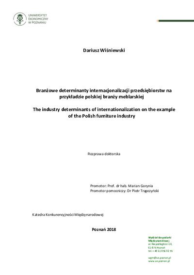 Branżowe determinanty internacjonalizacji przedsiębiorstw na przykładzie polskiej branży meblarskiej