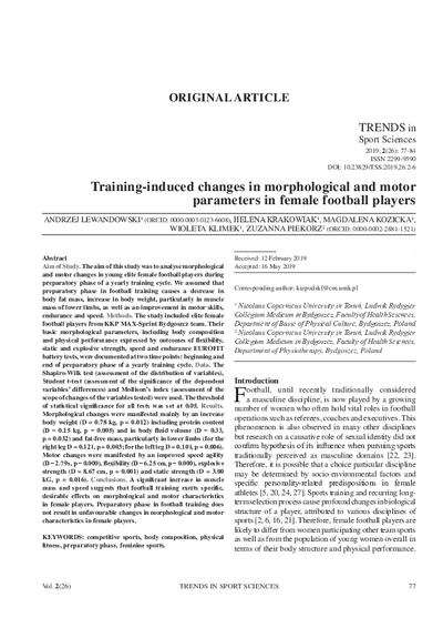 Training-induced changes in morphological and motor parameters in female football players