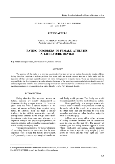 Eating disorders in female athletes: a literature review