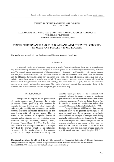 Tennis performance and the dominant arm strength velocity in male and female tennis players