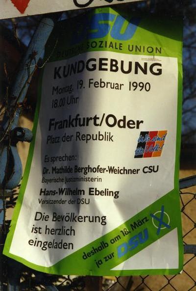 DSU-Plakat Kundgebung
