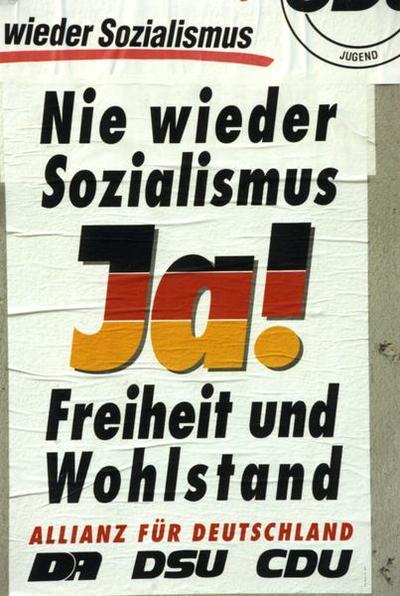 Allianz für Deutschland-Plakat Nie wieder Sozialismus